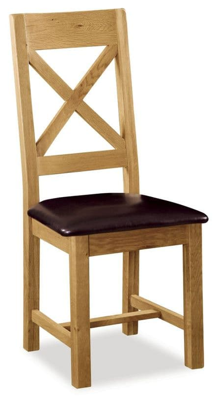 Pair of Suffolk Cross Back Dining Chairs with PU seat