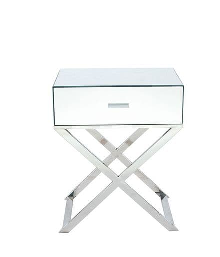 Silver Mirrored Glass & Metal 1 Drawer Unit