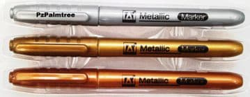 3x Metallic Marker Pens Gold Silver Bronze Paper Card Glass Metal Plastic