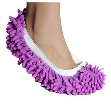 PURPLE Dust Mop Slippers Lazy Floor Cleaning Socks Student Novelty