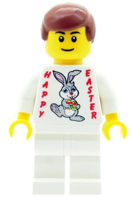 Boy with Happy Easter (Easter Bunny & Eggs) T-shirt - Custom Designed Minifigure