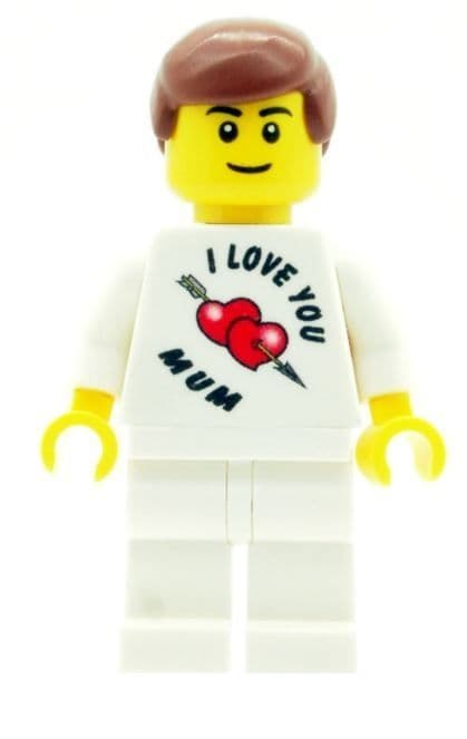 Boy with I Love You Mum T-Shirt for Mothers Day, Birthday or any other Special Occasions - Custom Designed Minifigure
