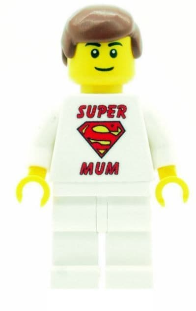 Boy with Super Mum T-Shirt for Mothers Day, Birthday or any other Special Occasions - Custom Designed Minifigure