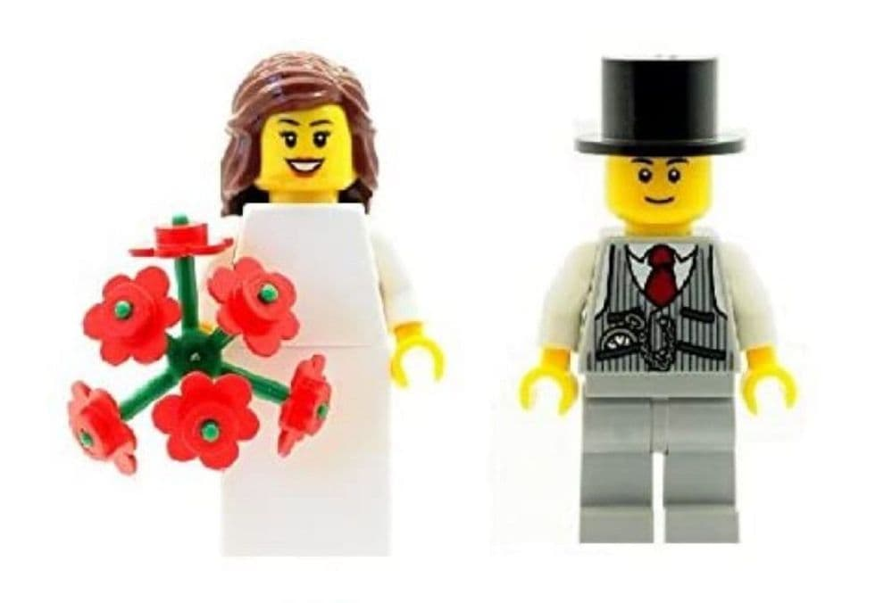 Bride and Groom Minfigures with Flowers