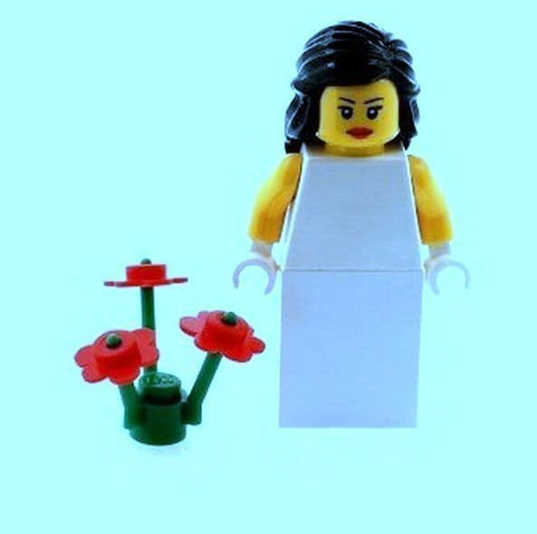 Bride with Long Black Hair and Flowers