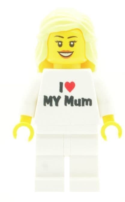 Girl with I Love My Mum T-Shirt for Mothers Day, Birthday or any other Special Occasions - Custom Designed Minifigure
