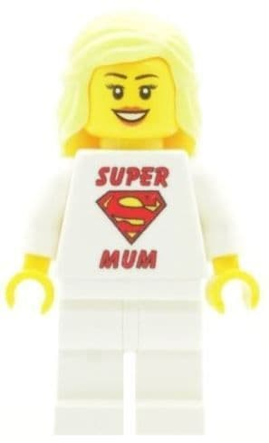 Girl with Super Mum T-Shirt for Mothers Day, Birthday or any other Special Occasions - Custom Designed Minifigure