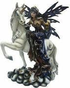 Blue Winter Fairy Riding Unicorn Display Figurine Statue Ornament