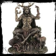 Cernunnos Lord of the Forest Bronzed Statue Figurine Pagan God Altar Ornament