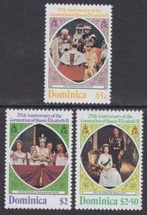 DOMINICA - 1978 25th Anniversary of Coronation - Perf 12 (3v) - UM / MNH