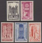 FRANCE 1944 Cathedrals of France - 1st issue (5v) - UM / MNH