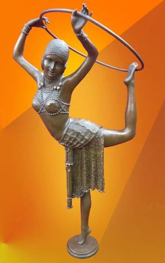 ART DECO CHIPARUS DANCER WITH RING HOT CAST BRONZE FIGURINE