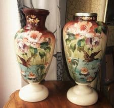 2 LARGE ANTIQUE OPALINE GLASS VASES HANDPAINTED WATER BIRDS DRILLED FOR LAMPS
