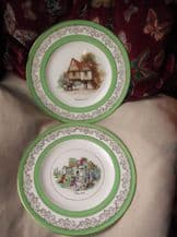2 X GILDED GREEN RINGS CROWN CHINA DISPLAY PLATES ELIZABETHAN & TUDOR DAYS 10.5""
