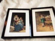 2 X SMALL VINTAGE GEORGE BAXTER COLOUR PRINTS I DONT LIKE IT + MADONNA & CHILD