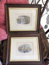 2 X SOLID WOOD FRAMED GLAZED TINTED ANTIQUE PRINTS ON THE LEA & ON THE DART