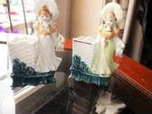 2 X VERY OLD LUSTRE CHINA GIRL FIGURINES POSY VASES IMPRESSED 4475 GERMANY