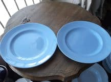 """2 X VINTAGE 8"""" SALAD PLATES GIBSONS CERULEA WARE RICH BLUE COLOUR GREAT COND"""