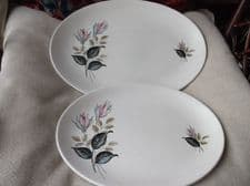 "2 X VINTAGE J&G MEAKIN NIGHT CLUB OVAL PLATTERS ROSE BUDS 14"" & 12"" GREAT COND"