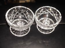 2 X VINTAGE LEAD CUT GLASS SUNDAE DISHES + FOOT WELL BEVEL RIMS SPARKLE NOT PAIR