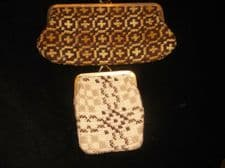 2 X VINTAGE RETRO METAL CLASP PURSES REAL WELSH WOOL TAPESTRY 1 BROWN 1 CREAM