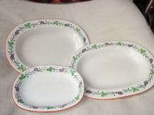 3 SMALL ANTIQUE HANDPAINTED GRAPES PLATTERS c 1879 WEDGWOOD A4528 IRON RED RIM