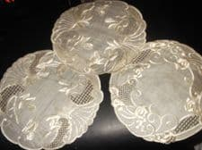 "3 X ANTIQUE CREAM SILK TABLE PROTECTORS SATIN FLORAL EMBROIDERY 9"" DIA UNUSED"
