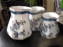3 X ANTIQUE KEELING & CO LOSOL WARE CHARTLEY PATTERN GRADUATED JUGS EXOTIC BIRDS