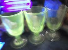 "3 X ANTIQUE VERY HEAVY RUMMER GLASSES UV GREEN GLOW 6"" HIGH WIDE BASES"
