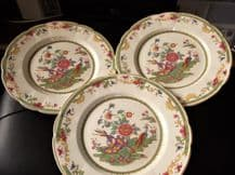 """3 X RARE VINTAGE TAMS POTTERY PLATES CHINESE BLOSSOMS & EXOTIC BIRDS 10"""""""