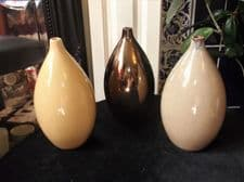 3 X UNUSUAL ART POTTERY BULBOUS BUD VASES BRONZE OATMEAL & PALE LEMON GLAZES 7""