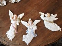 3 x UNUSUAL GLAZED HANDMADE HANDPAINTED CHINA ANGELS SIGNED JEAN 1997 1 = TLC