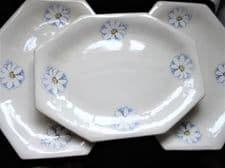 3 X UNUSUAL PLATTERS PRETTY DAISY DESIGN OCTAGONAL INCISED I.D. ON BACK 13.25""