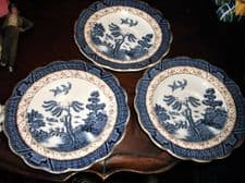 3 X VINTAGE BOOTHS REAL OLD WILLOW GILDED SAUCERS FLUTED RIMS A8025