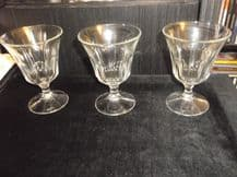 3 X VINTAGE CORDIAL ? COCKTAIL ? GLASSES ITALY PRETTY CUT LOOK PRESSED GLASS