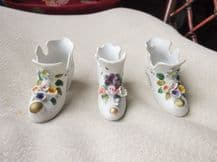 3 X VINTAGE PAINTED MINI CHINA BOOTS / SHOES POSY VASES - RAISED FLOWERS 2 + 1