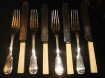 4 X ANTIQUE SILVER PLATED WILLIAM HUTTON FORKS MONOGRAM BOC + CELLULOID UNITY