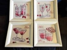 "4 X CREAM CHUNKY WOODEN FRAMED GLAZED COCKTAIL PRINTS STEFF GREEN 9"" SQUARE"