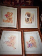"4 X FRAMED GLAZED PRINTS JOHN CLAYTON ADORABLE TEDDY BEARS 12.5"" X 10.5"" EX COND"