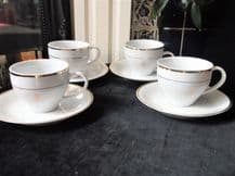 4 x GILDED WHITE CHINA CUPS & SAUCERS THE QUEEN'S GOLDEN JUBILEE 2002 EXCELLENT