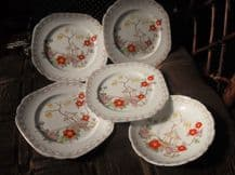 4 X SIDE PLATES 1 X SAUCER DIAMOND CHINA BLYTH PAGODA HANDPAINTED DAISIES 7850B