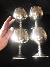 4 X SILVER PLATED ELEGANT WINE GOBLETS ORNATE TWISTED STEM 3 X ALFONSO 1 VALERO