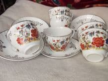4 X VINTAGE ELEGANT SAUCERS AND 6 X MATCHING CUPS BARRATTS BOLD INDIAN TREE