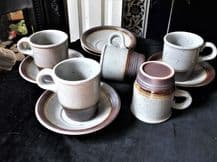 5 x COFFEE CUPS & DEEP SAUCERS SPECKLED STONEWARE & SALT GLAZED RIMS EXCELLENT