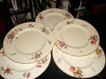 5 X SALAD PLATES (3+2) ROYAL WORCESTER c1930 FLORAL BOUQUET SPRAY Z259