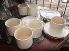 5 X SAUCERS AND 6 X CUPS BARRATTS DOVERSTONE CREAMY RETRO INDIANA