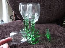 5 X SUPERB ART DECO CORDIAL GLASSES LONG GREEN STEM & BASE FACETED SMALL BODY