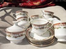 6 ELEGANT GILDED CUPS & SAUCERS WITH LIDDED SUGAR BOWL & MILK JUG SURYA CHINA
