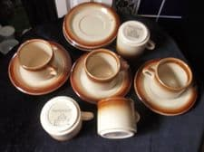 6 x T G GREEN COFFEE CUPS & SAUCERS WOODVILLE SPECKLED & TREACLE GLAZED RIMS