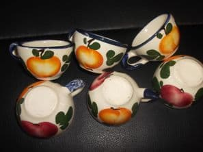6 X VINTAGE MINIATURE HIGH GLAZED HANDPAINTED FRUIT CUPS NO SAUCERS OR EGG ?